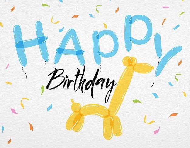 Carte joyeux anniversaire ballons girafe