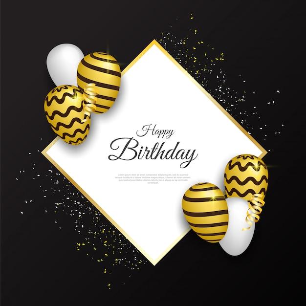 Carte de joyeux anniversaire avec des ballons de luxe