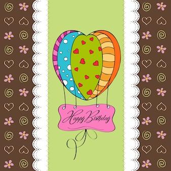 Carte de joyeux anniversaire avec des ballons.