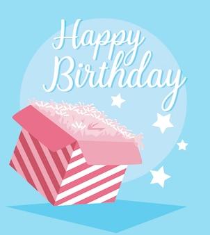 Carte de joyeux anniversaire avec boîte-cadeau