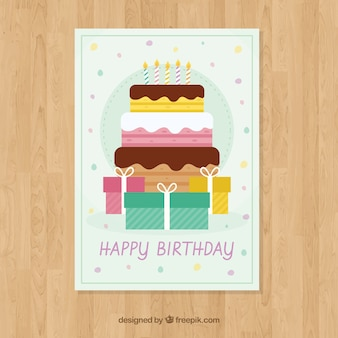 Carte de joyeux anniversaire avec boîte de gâteau et cadeaux