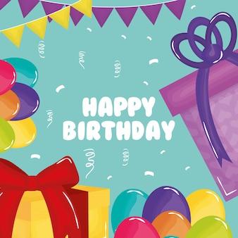 Carte de joyeux anniversaire avec des cadeaux et des ballons à l'hélium