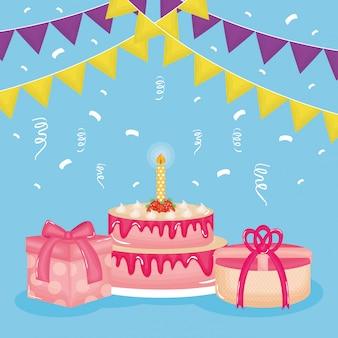 Carte de joyeux anniversaire avec des cadeaux et des gâteaux