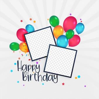 Carte de joyeux anniversaire avec cadre photo et ballons