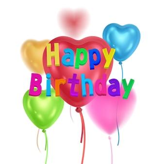 Carte de joyeux anniversaire avec carte de ballons volants colorés