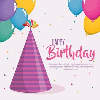 Carte de joyeux anniversaire avec chapeau de fête