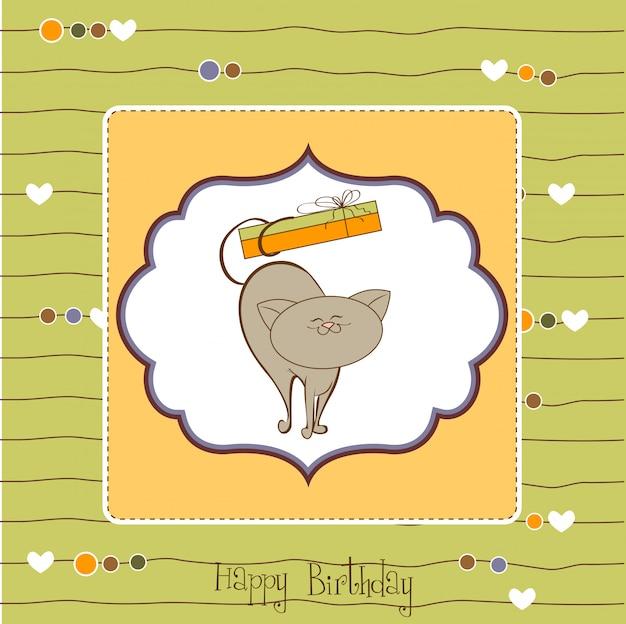 Carte de joyeux anniversaire avec un chat mignon