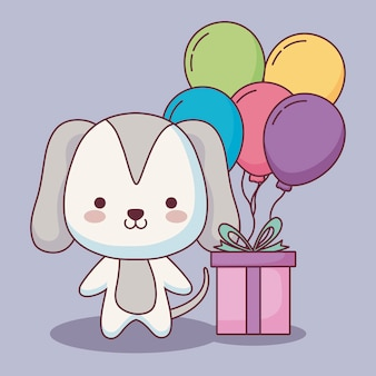 Carte de joyeux anniversaire chien mignon avec des ballons à l'hélium et cadeau