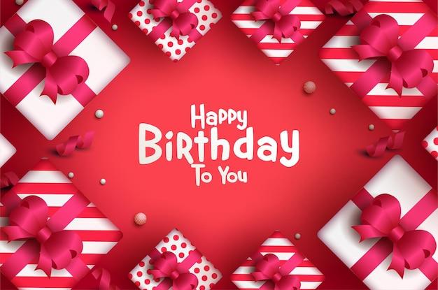 Carte de joyeux anniversaire avec des coffrets cadeaux lumineux