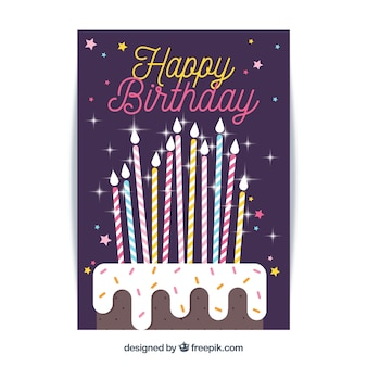 Carte de joyeux anniversaire dans un style plat