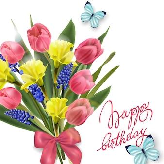 Carte de joyeux anniversaire avec fleurs printanières, tulipes, jonquilles, muscari. modèle vectoriel