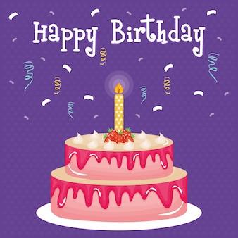 Carte de joyeux anniversaire avec un gâteau et une bougie