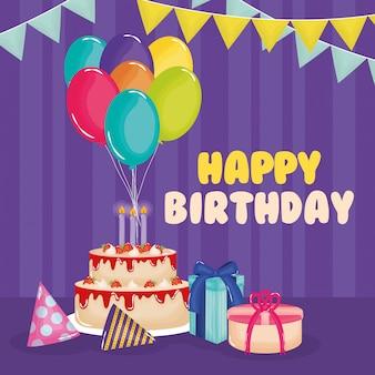 Carte de joyeux anniversaire avec un gâteau, des cadeaux et des ballons à l'hélium