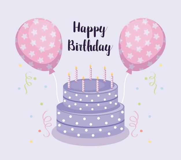 Carte de joyeux anniversaire avec un gâteau sucré et des ballons à l'hélium