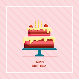 Carte de joyeux anniversaire avec gâteau