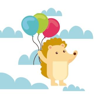 Carte de joyeux anniversaire avec hérisson tenant l'icône de ballons