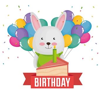 Carte de joyeux anniversaire avec joli lapin