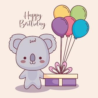 Carte de joyeux anniversaire koala mignon
