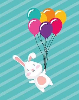 Carte de joyeux anniversaire avec lapin flottant dans des ballons hélium scène vector illustration design