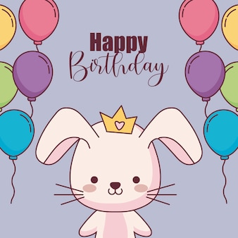 Carte de joyeux anniversaire lapin mignon avec des ballons à l'hélium