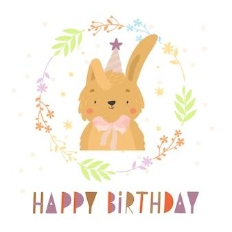 Carte de joyeux anniversaire avec un lapin mignon