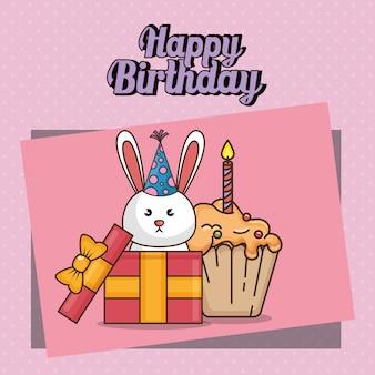 Carte de joyeux anniversaire avec lapin mignon