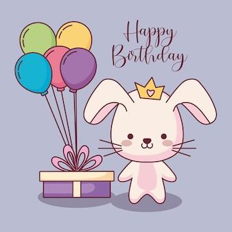 Carte de joyeux anniversaire lapin mignon