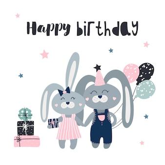 Carte de joyeux anniversaire avec des lièvres mignons et des cadeaux.