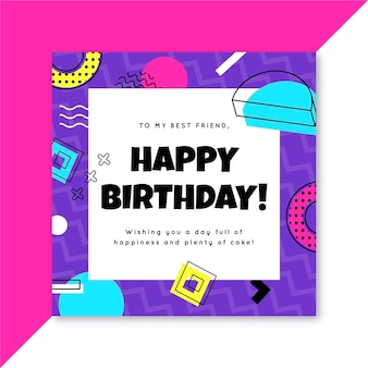 Carte de joyeux anniversaire de memphis