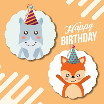 Carte de joyeux anniversaire mignon drôle hippopotame et renard