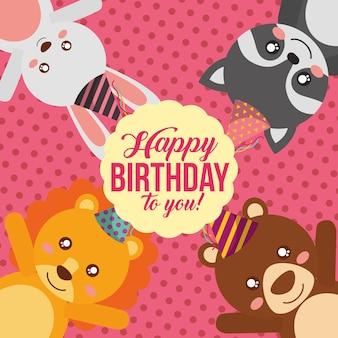 Carte de joyeux anniversaire mignon avec lion et ours de raton laveur de lapin