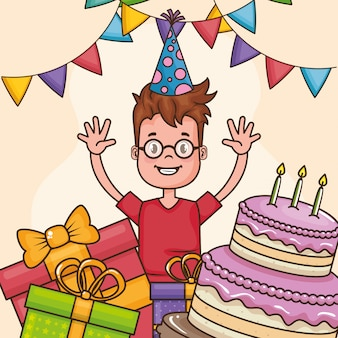 Carte de joyeux anniversaire avec petit garçon