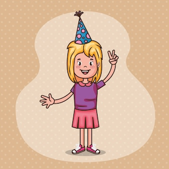 Carte de joyeux anniversaire avec petite fille