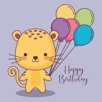 Carte de joyeux anniversaire tigre mignon avec des ballons air hélium