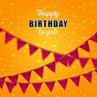 Carte de joyeux anniversaire avec le vecteur de fond jaune
