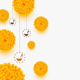 Carte de joyeux diwali élégante avec fleurs et diya