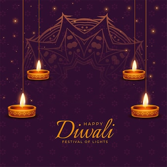 Carte de joyeux festival de diwali avec des lampes à huile diya rougeoyantes