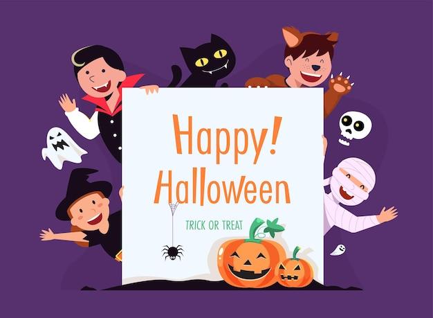 Carte de joyeux halloween (des bonbons ou un sort) avec des personnages
