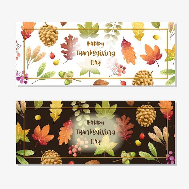 Carte de joyeux jour de thanksgiving ou dépliant avec des feuilles de noix, de citrouille et d'érable.