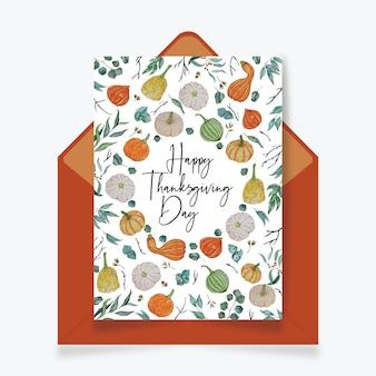 Carte de joyeux jour de thanksgiving avec enveloppe