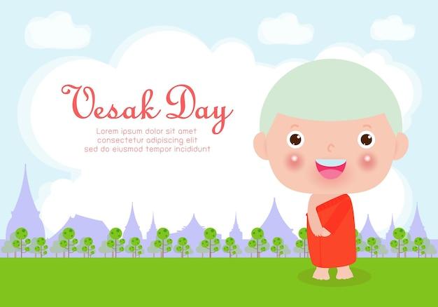 Carte de joyeux jour vesak avec moine mignon dans la journée de visakha puja