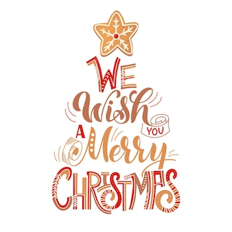 Carte de joyeux noël avec des biscuits de pain d'épice. arbre de biscuits. illustration vectorielle pour la conception du nouvel an.