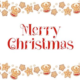 Carte de joyeux noël avec des biscuits de pain d'épice. cadre de biscuits. illustration vectorielle pour la conception du nouvel an.
