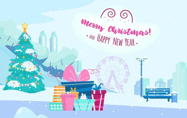 Carte de joyeux noël et bonne année de paysage de parc d'hiver