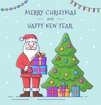 Carte de joyeux noël et bonne année avec le père noël. illustration vectorielle.