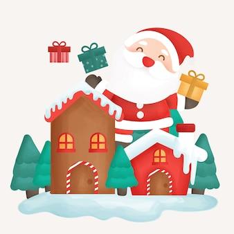 Carte de joyeux noël avec clause santa et ville de neige.