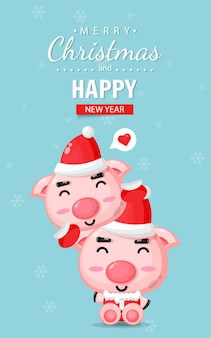 Carte de joyeux noël avec un cochon mignon portant un costume de noël