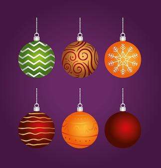 Carte de joyeux noël joyeux avec des boules de couleurs suspendus