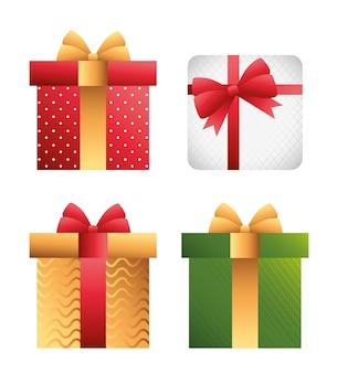 Carte de joyeux noël joyeux avec conception d'illustration de cadeaux