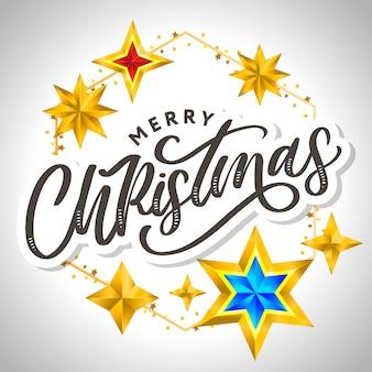 Carte de joyeux noël avec lettrage dessiné à la main et étoiles sur fond sombre. fond de cadre doré mignon vacances